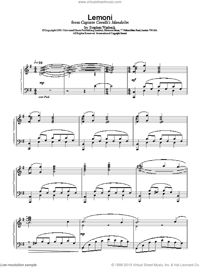 Lemoni sheet music for piano solo by Stephen Warbeck. Score Image Preview.