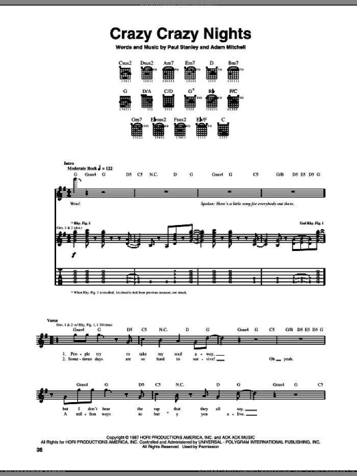 Crazy Crazy Nights sheet music for guitar (tablature) by KISS, Adam Mitchell and Paul Stanley. Score Image Preview.