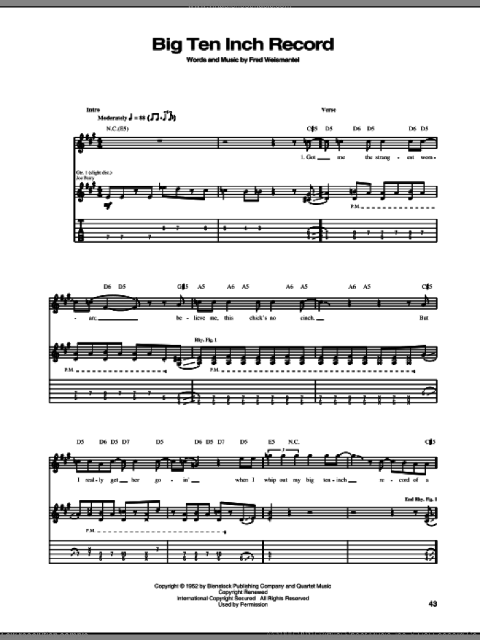 Big Ten Inch Record sheet music for guitar (tablature) by Aerosmith and Fred Weismantel, intermediate