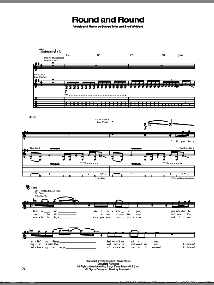 Round And Round sheet music for guitar (tablature) by Aerosmith. Score Image Preview.