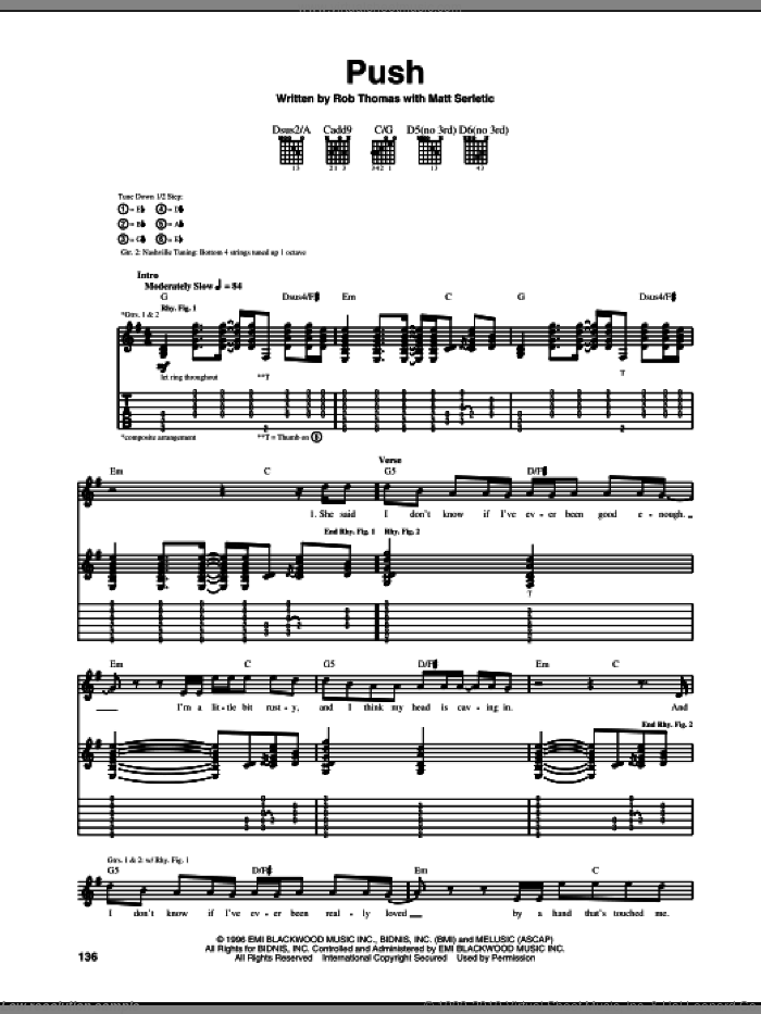 Push sheet music for guitar (tablature) by Rob Thomas, Matchbox Twenty and Matt Serletic. Score Image Preview.
