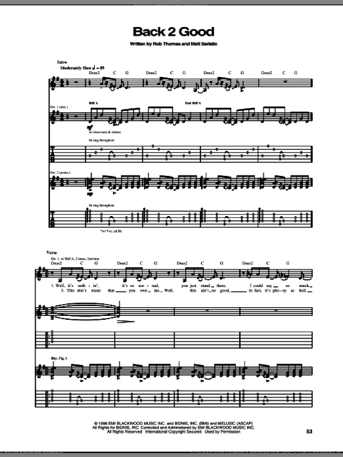 Back 2 Good sheet music for guitar (tablature) by Matchbox Twenty, Matchbox 20, Matt Serletic and Rob Thomas, intermediate. Score Image Preview.