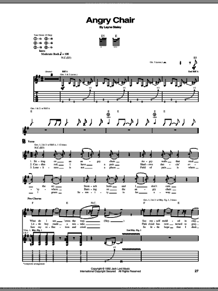 Angry Chair sheet music for guitar (tablature) by Layne Staley