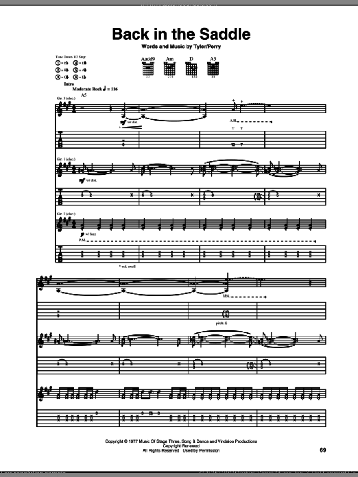 Back In The Saddle sheet music for guitar (tablature) by Steven Tyler, Aerosmith and Joe Perry. Score Image Preview.