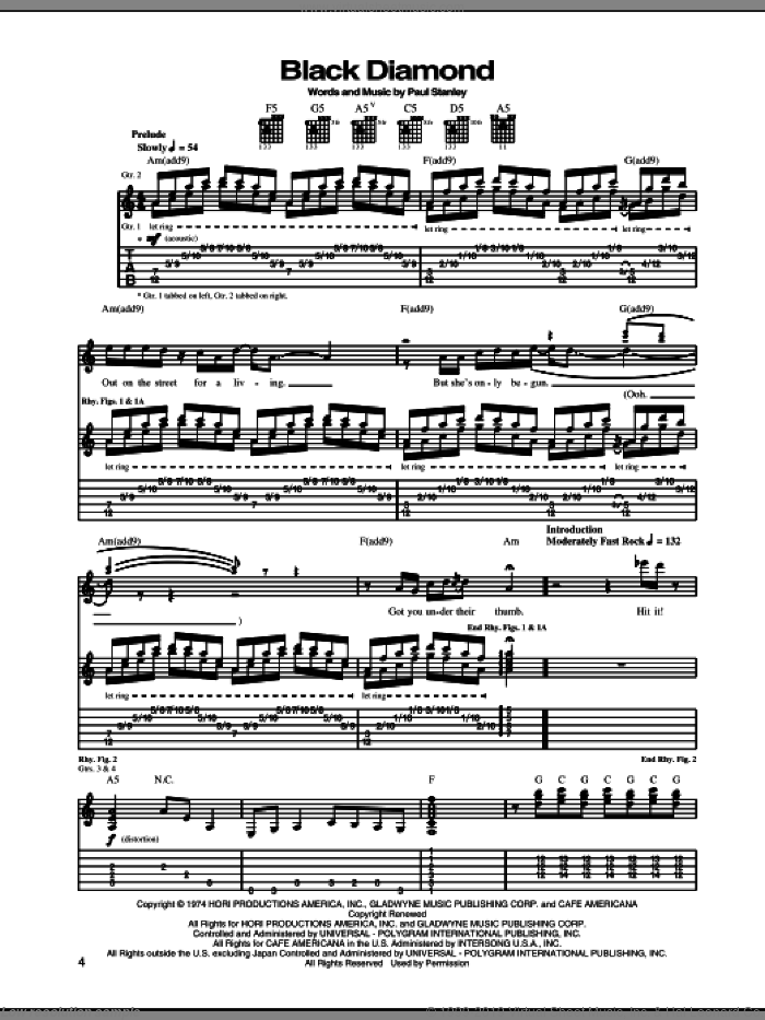 Black Diamond sheet music for guitar (tablature) by KISS and Paul Stanley, intermediate guitar (tablature). Score Image Preview.