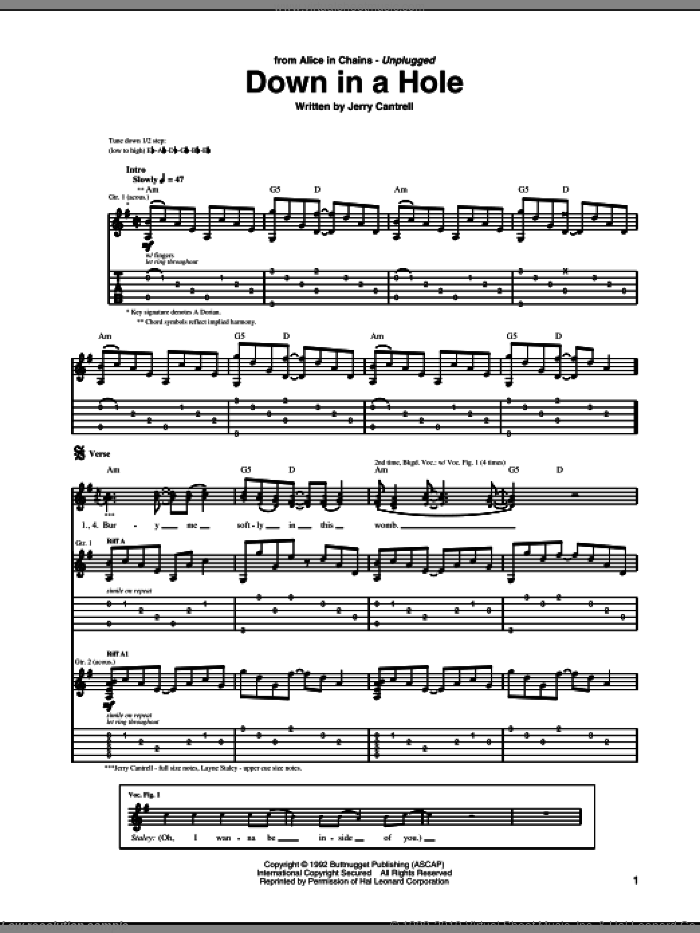 Down In A Hole sheet music for guitar (tablature) by Jerry Cantrell and Alice In Chains. Score Image Preview.