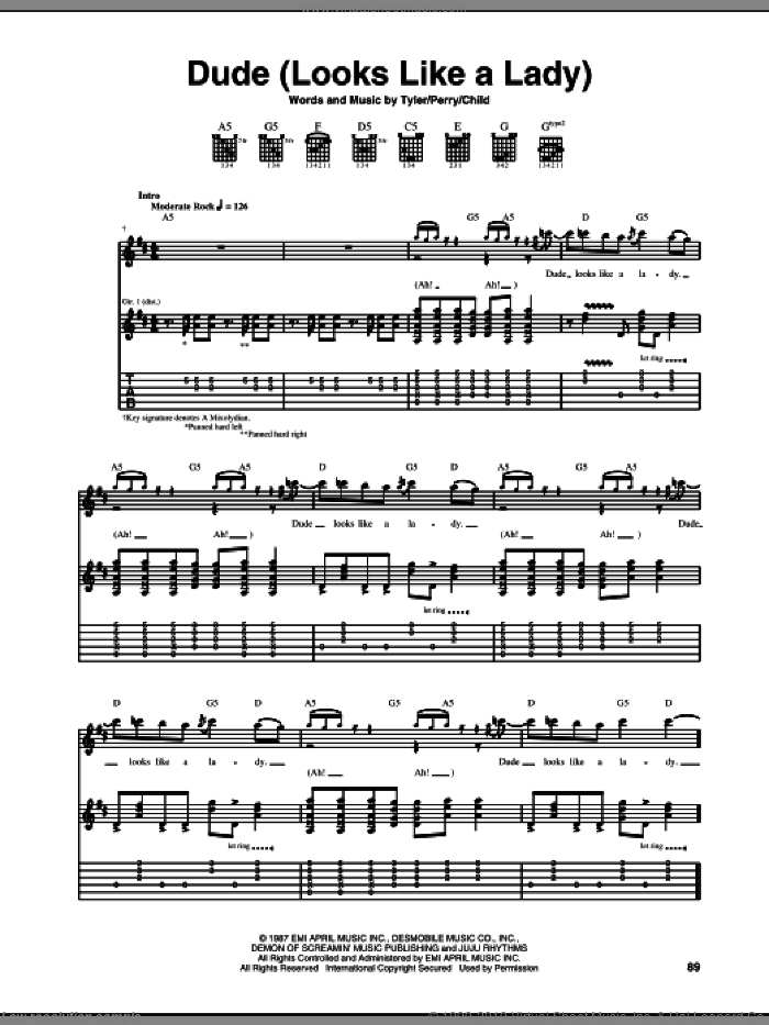Dude (Looks Like A Lady) sheet music for guitar (tablature) by Steven Tyler