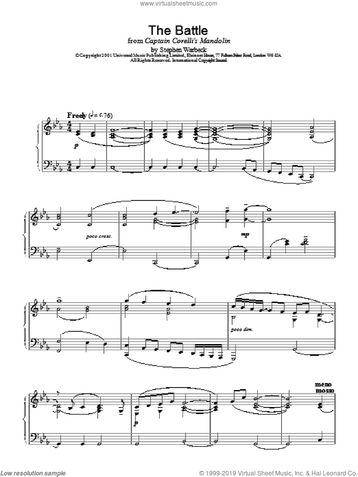 The Battle sheet music for piano solo by Stephen Warbeck
