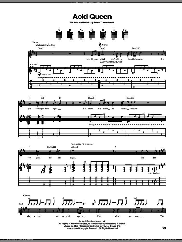 Acid Queen sheet music for guitar (tablature) by Pete Townshend