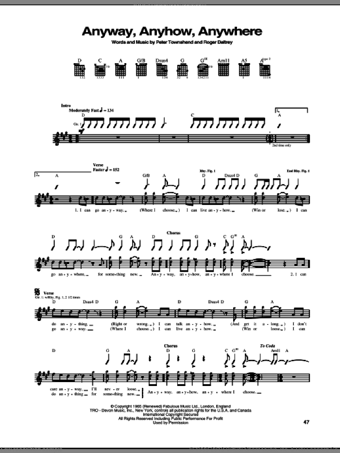 Anyway, Anyhow, Anywhere sheet music for guitar (tablature) by The Who, Pete Townshend and Roger Daltrey, intermediate