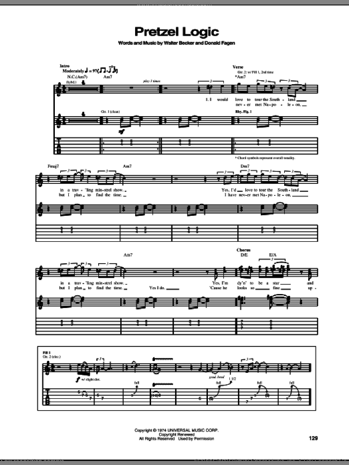 Pretzel Logic sheet music for guitar (tablature) by Steely Dan and Donald Fagen. Score Image Preview.