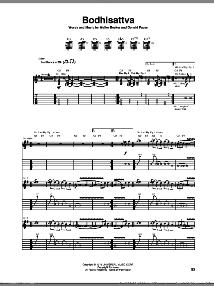 Bodhisattva sheet music for guitar (tablature) by Walter Becker and Donald Fagen. Score Image Preview.