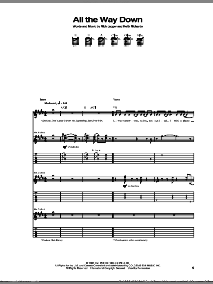 All The Way Down sheet music for guitar (tablature) by Mick Jagger, The Rolling Stones and Keith Richards. Score Image Preview.