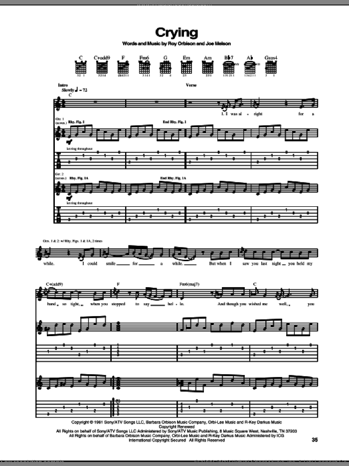 Crying sheet music for guitar (tablature) by Don McLean, Joe Melson and Roy Orbison, intermediate skill level