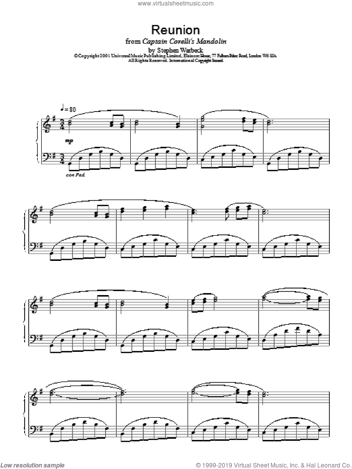 Reunion sheet music for piano solo by Stephen Warbeck, intermediate. Score Image Preview.