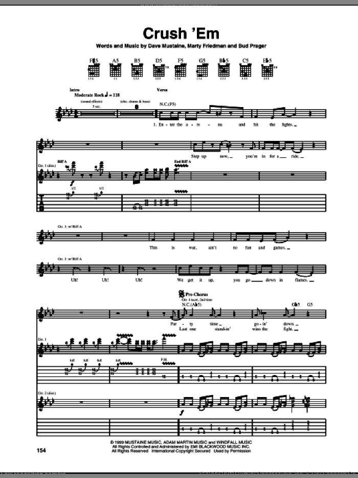 Crush 'Em sheet music for guitar (tablature) by Marty Friedman, Megadeth and Dave Mustaine. Score Image Preview.