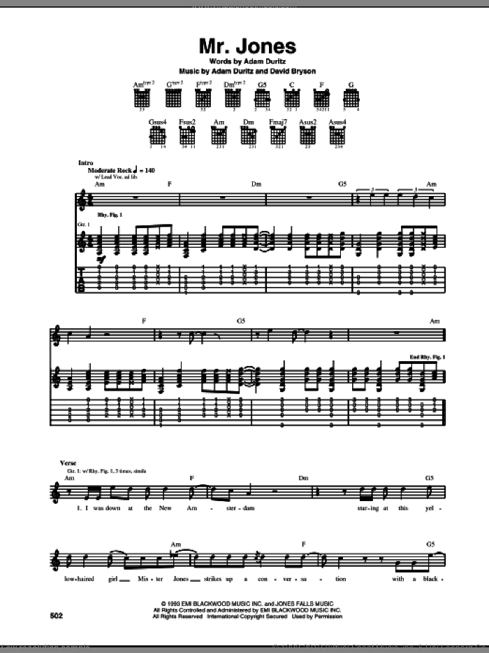 Mr. Jones sheet music for guitar (tablature) by Counting Crows, intermediate. Score Image Preview.