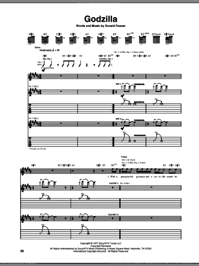 Godzilla sheet music for guitar (tablature) by Donald Roeser