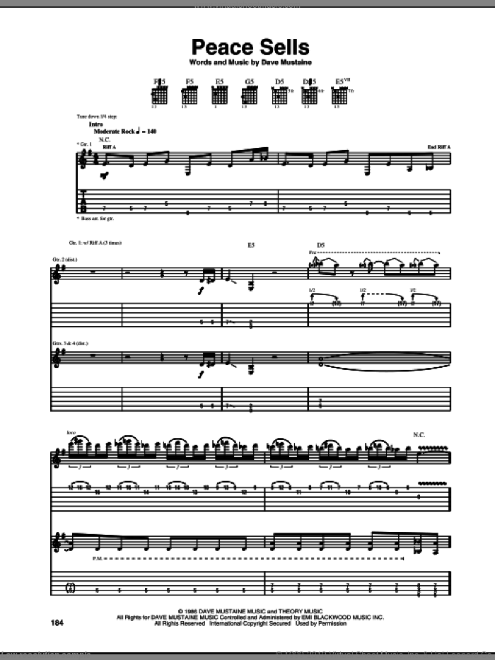Peace Sells sheet music for guitar (tablature) by Dave Mustaine and Megadeth. Score Image Preview.
