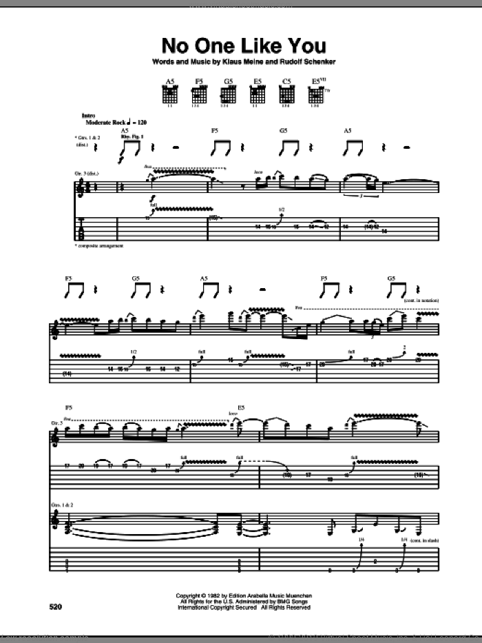 No One Like You sheet music for guitar (tablature) by Scorpions, Klaus Meine and Rudolf Schenker, intermediate