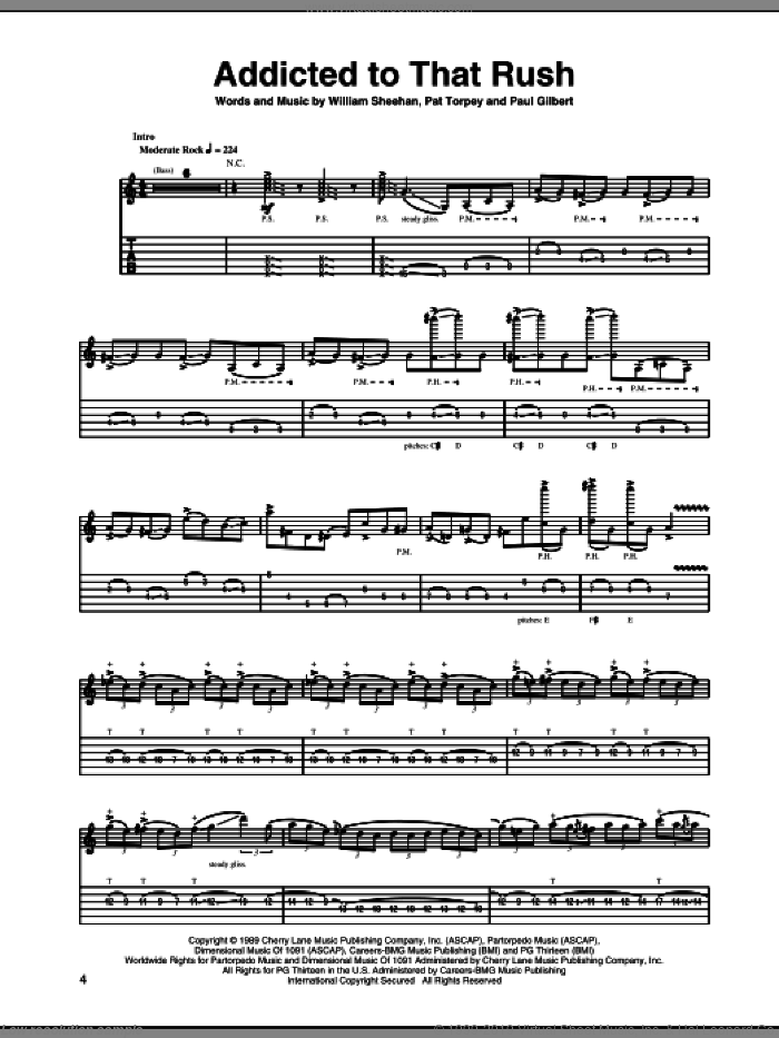 Addicted To That Rush sheet music for guitar (tablature) by Billy Sheehan, Mr. Big and Paul Gilbert