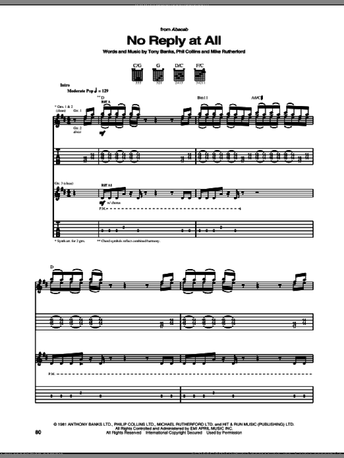 No Reply At All sheet music for guitar (tablature) by Genesis and Phil Collins, intermediate guitar (tablature). Score Image Preview.