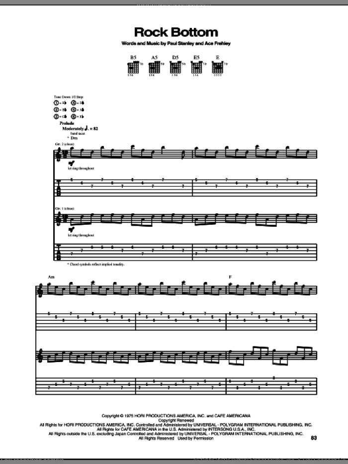 Rock Bottom sheet music for guitar (tablature) by KISS, intermediate. Score Image Preview.