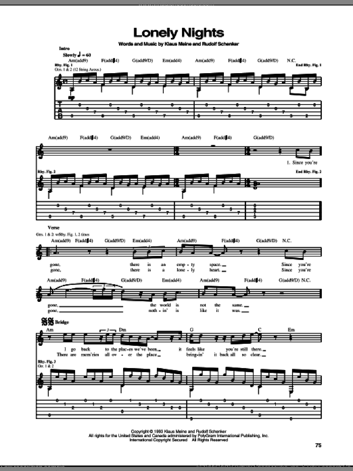 Lonely Nights sheet music for guitar (tablature) by Rudolf Schenker, Scorpions and Klaus Meine. Score Image Preview.