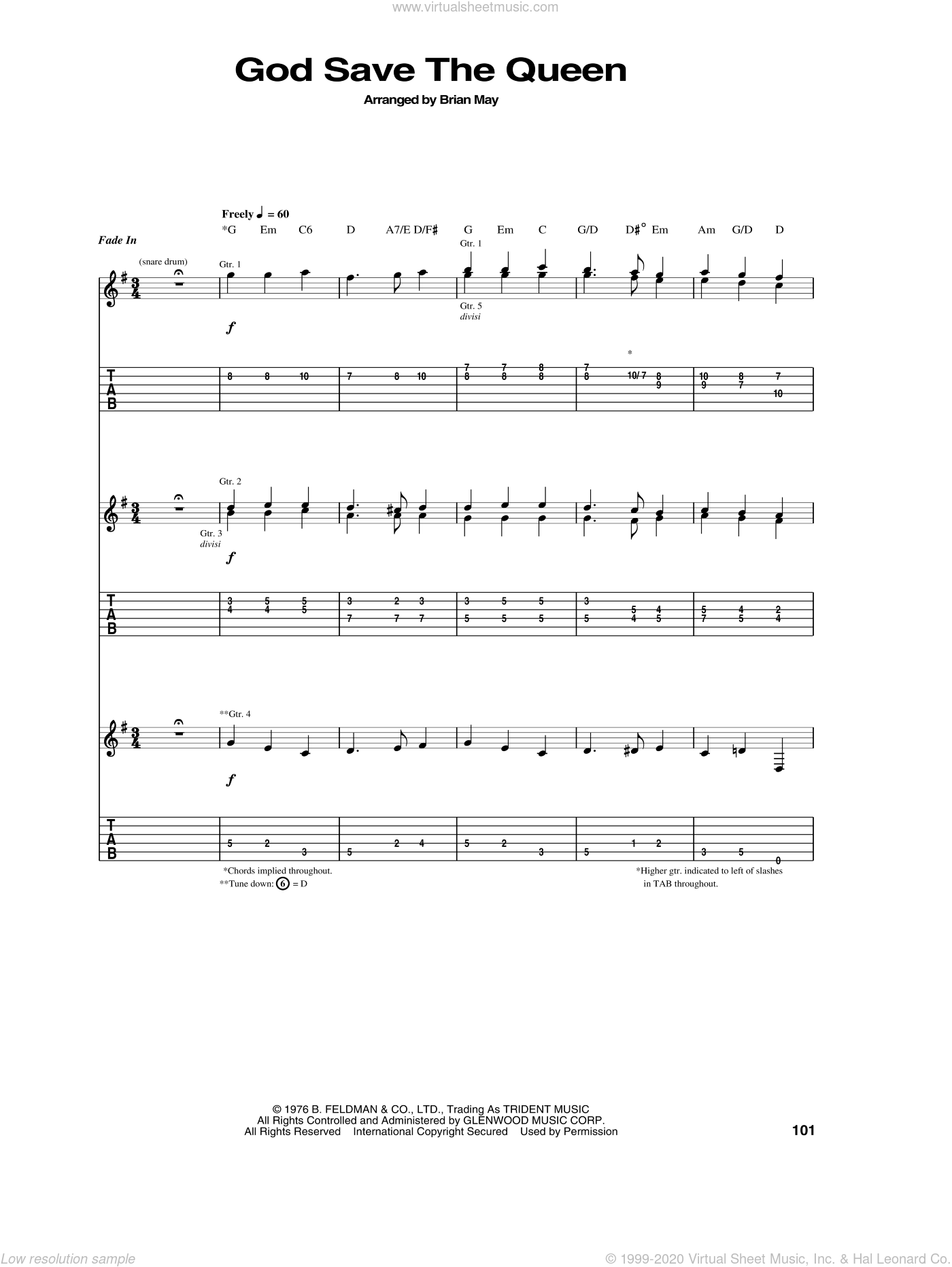 God Save The Queen sheet music for guitar (tablature) by Brian May and Queen. Score Image Preview.