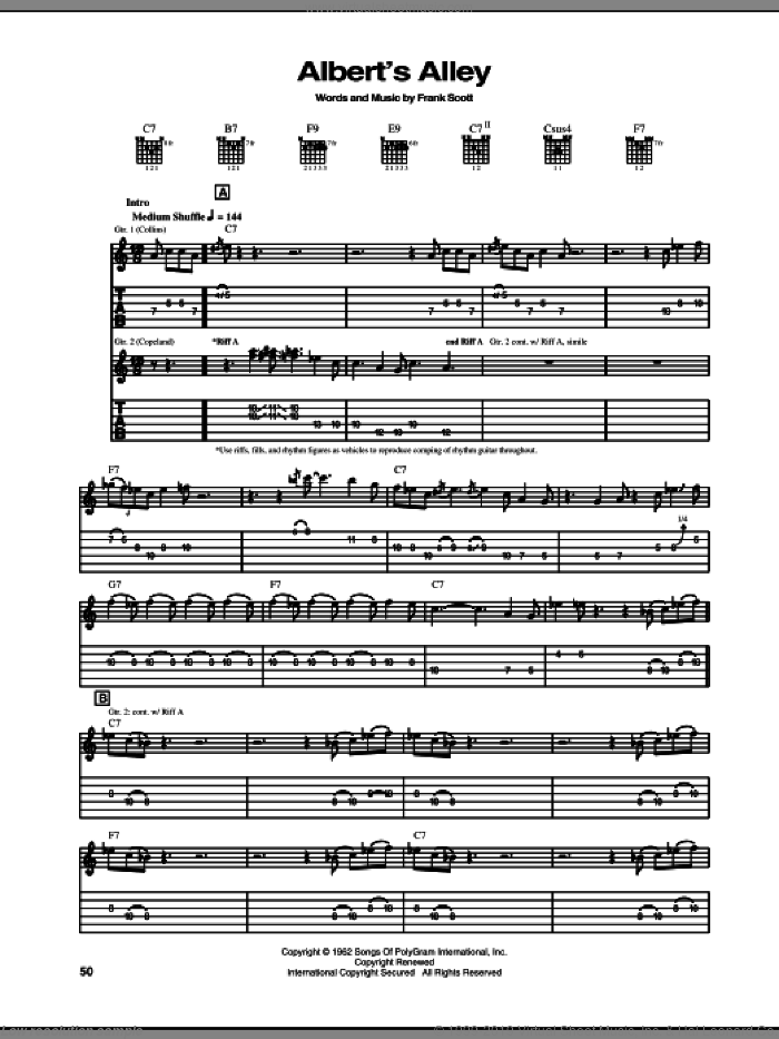 Albert's Alley sheet music for guitar (tablature) by Frank Scott and Albert Collins. Score Image Preview.