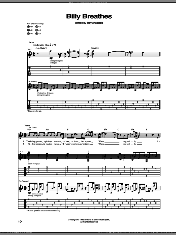 Billy Breathes sheet music for guitar (tablature) by Phish and Trey Anastasio, intermediate skill level