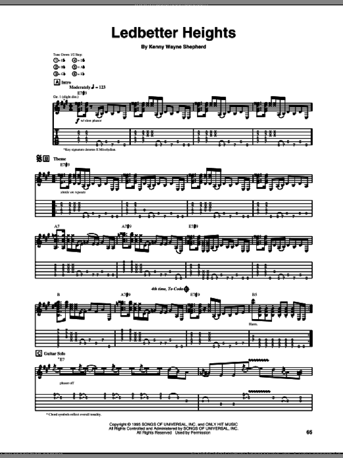 Ledbetter Heights sheet music for guitar (tablature) by Kenny Wayne Shepherd, intermediate guitar (tablature). Score Image Preview.