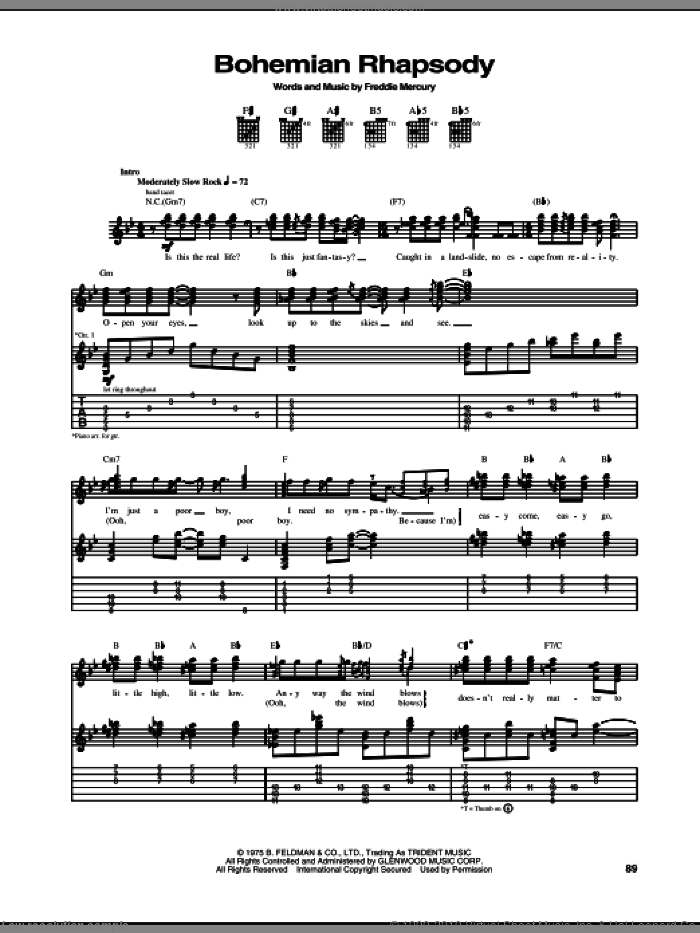 Bohemian Rhapsody sheet music for guitar (tablature) by Queen, Miscellaneous and Freddie Mercury, intermediate