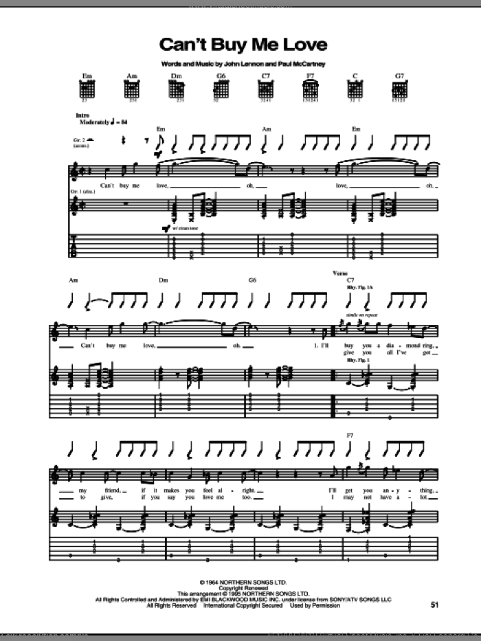 Can't Buy Me Love sheet music for guitar (tablature) by The Beatles, John Lennon and Paul McCartney, intermediate skill level