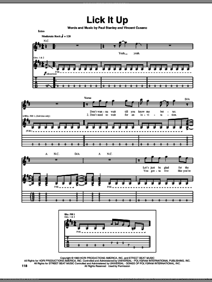 Lick It Up sheet music for guitar (tablature) by KISS, Paul Stanley and Vincent Cusano, intermediate