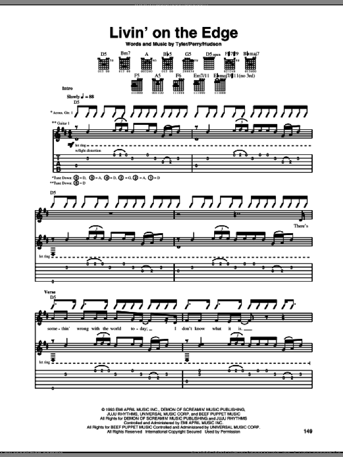 Livin' On The Edge sheet music for guitar (tablature) by Steven Tyler, Aerosmith, Joe Perry and Mark Hudson. Score Image Preview.