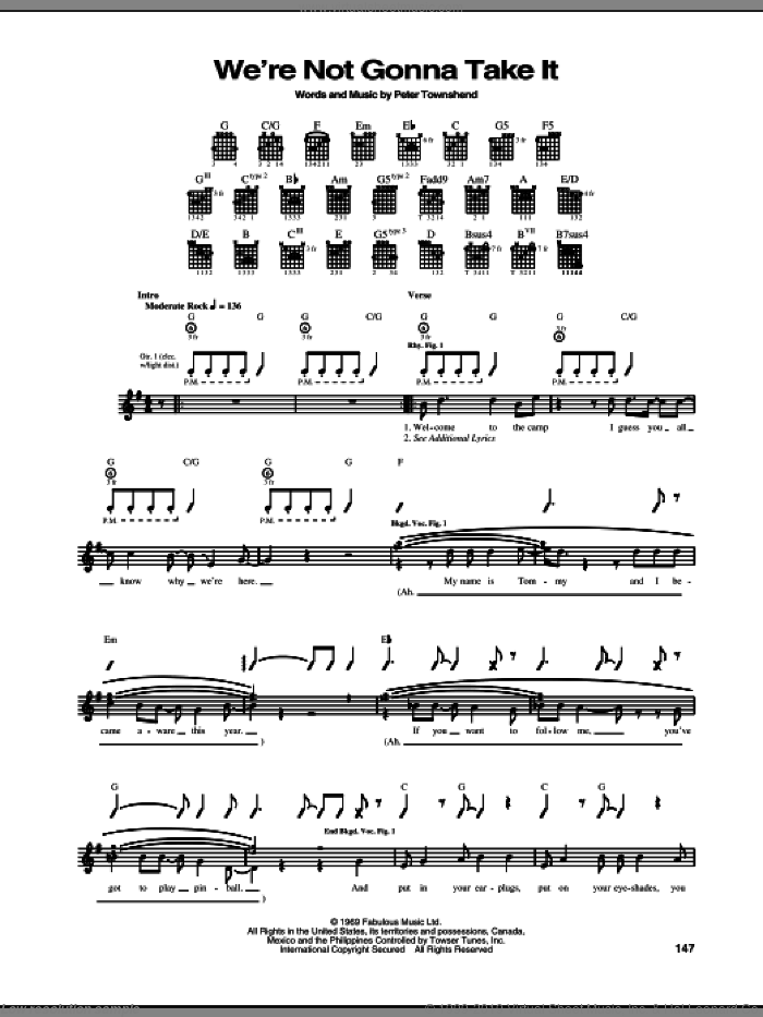 We're Not Gonna Take It sheet music for guitar (tablature) by The Who and Pete Townshend, intermediate skill level