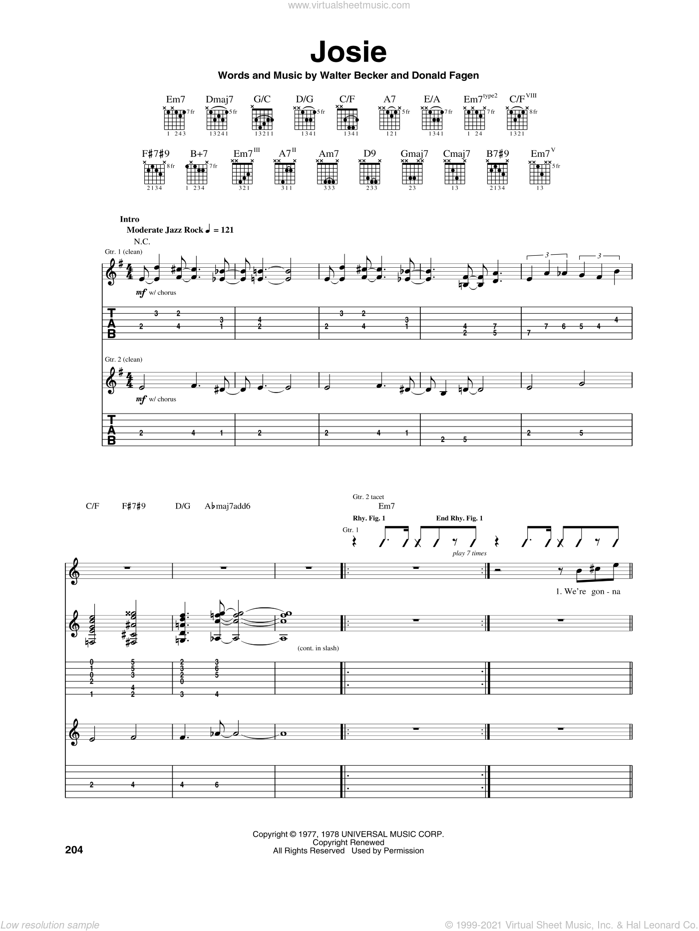 Josie sheet music for guitar (tablature) by Walter Becker and Donald Fagen. Score Image Preview.