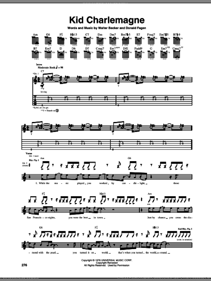 Kid Charlemagne sheet music for guitar (tablature) by Walter Becker and Donald Fagen. Score Image Preview.