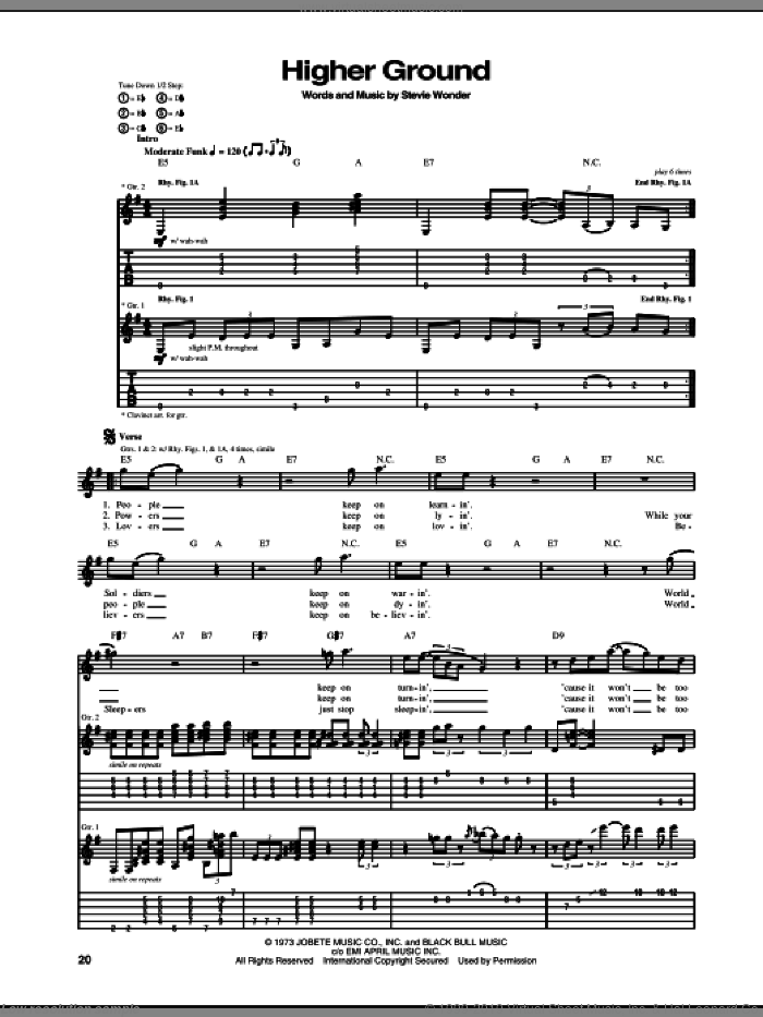 Higher Ground sheet music for guitar (tablature) by Stevie Wonder and Red Hot Chili Peppers, intermediate skill level