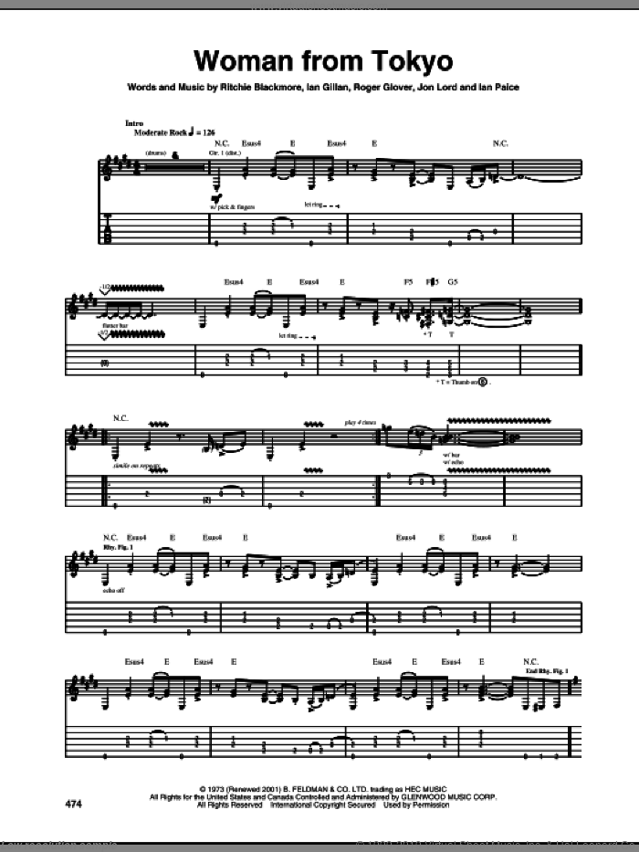 Woman From Tokyo sheet music for guitar (tablature) by Deep Purple, Ian Gillan, Ian Paice, Jon Lord, Ritchie Blackmore and Roger Glover, intermediate skill level