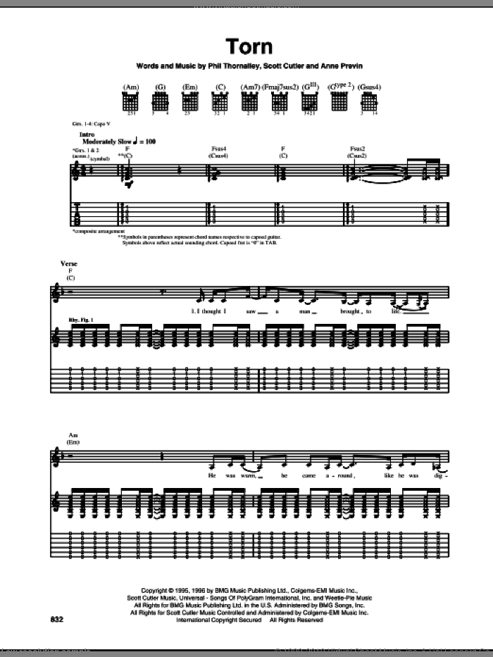 Torn sheet music for guitar (tablature) by Scott Cutler, Natalie Imbruglia and Phil Thornalley. Score Image Preview.