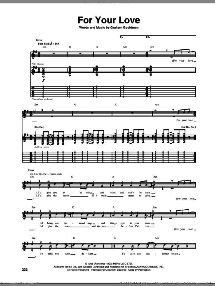For Your Love sheet music for guitar (tablature) by The Yardbirds, Eric Clapton and Graham Gouldman, intermediate skill level