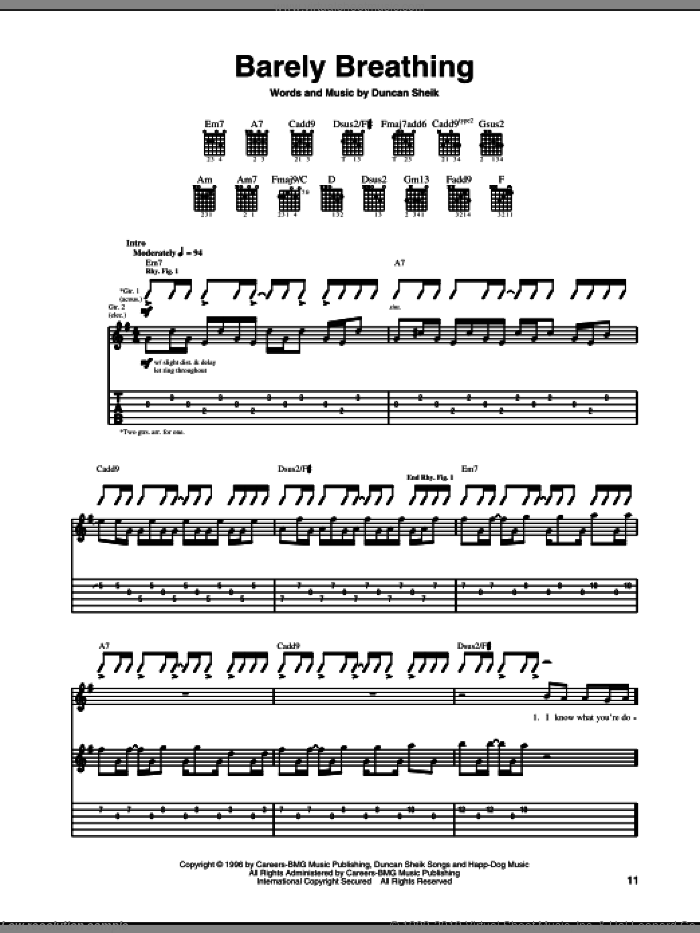 Barely Breathing sheet music for guitar (tablature) by Duncan Sheik. Score Image Preview.
