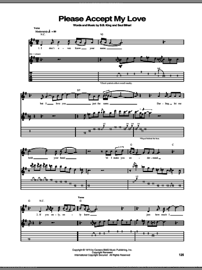 Please Accept My Love sheet music for guitar (tablature) by Saul Bihari and B.B. King. Score Image Preview.