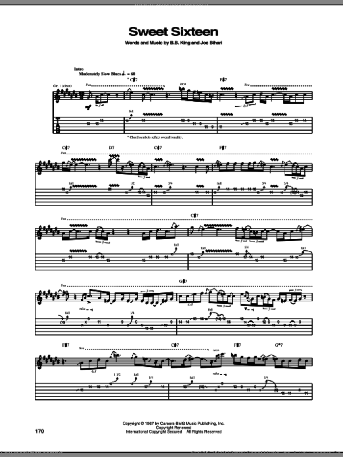 Sweet Sixteen sheet music for guitar (tablature) by Joe Bihari and B.B. King. Score Image Preview.