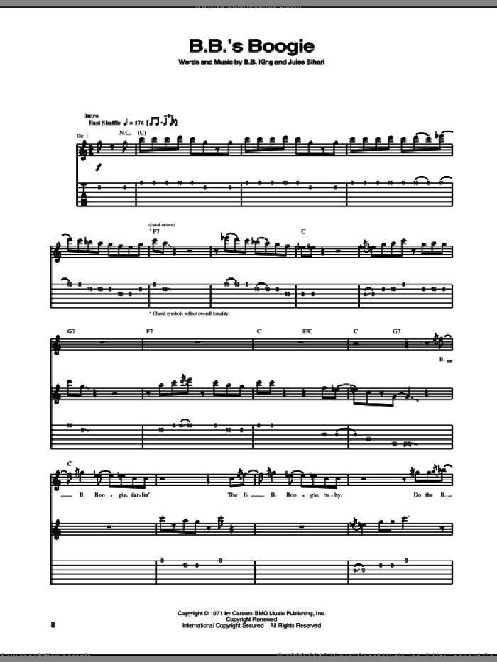 B.B.'s Boogie sheet music for guitar (tablature) by Jules Bihari and B.B. King. Score Image Preview.