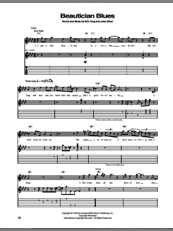 Beautician Blues sheet music for guitar (tablature) by Jules Bihari