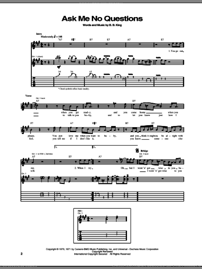 Ask Me No Questions sheet music for guitar (tablature) by B.B. King, intermediate. Score Image Preview.