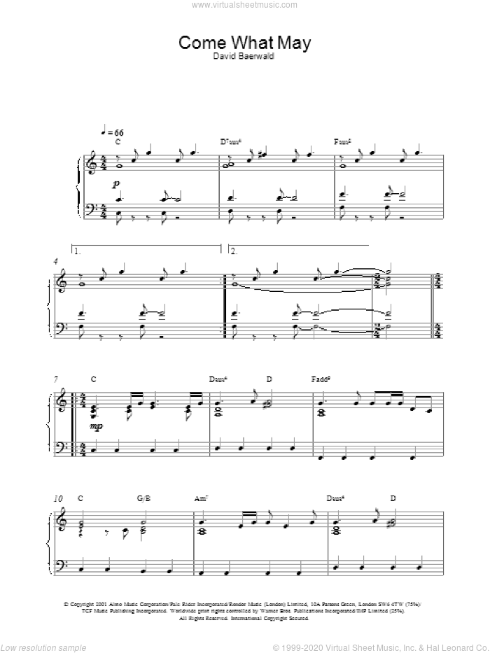 Come What May sheet music for piano solo by David Baerwald